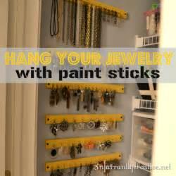 hanging jewelry organizer paint stick project