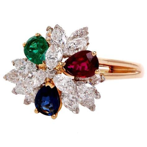 oscar heyman ruby emerald sapphire gold cluster