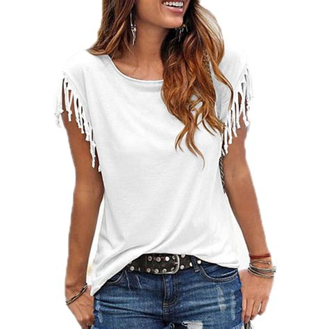 Tasel Blouse 1 blouse shirt tassel casual blouses o neck sleeve solid color shirts top s