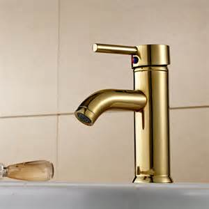 gold faucet single bathroom deck mount wash basin