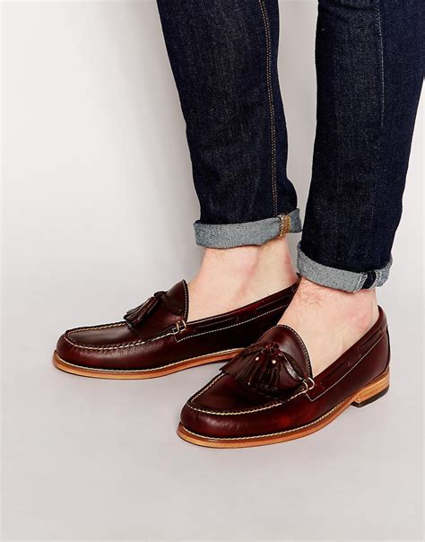 gh bass loafers uk g h bass co gh bass tassel loafers in brown lyst