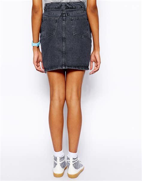 american apparel high waist denim skirt in black lyst