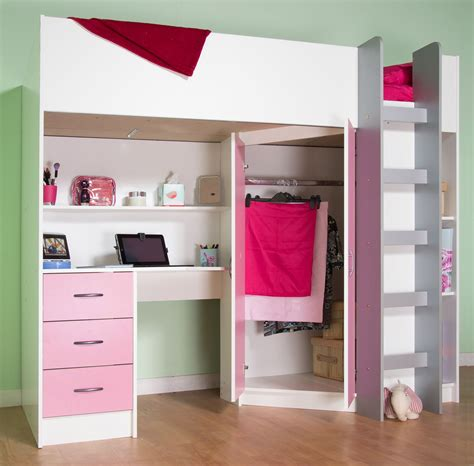 Wardrobe With Built In Desk by Calder High Sleeper Cabin Bed With Desk Wardrobe Drawers