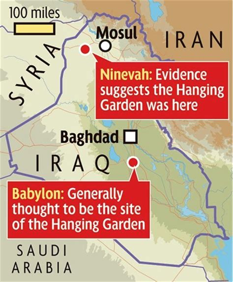 Location Of Garden Of by Hanging Gardens Of Babylon Were Actually 300 Away In