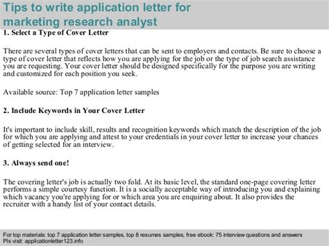 Marketing Research Analyst Cover Letter by Marketing Research Analyst Application Letter