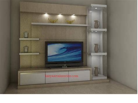 katalog produk desain backdrop tv model meja tv led minimalis karya arta interior