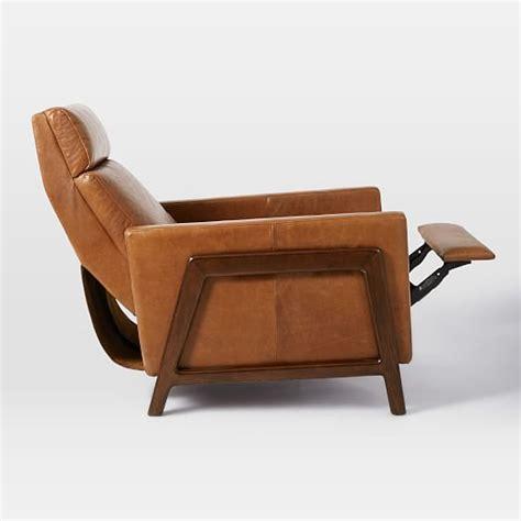 wood and leather recliner spencer wood framed leather recliner west elm
