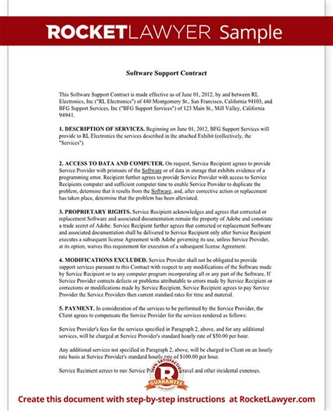 software support agreement template software support contract agreement form with sle
