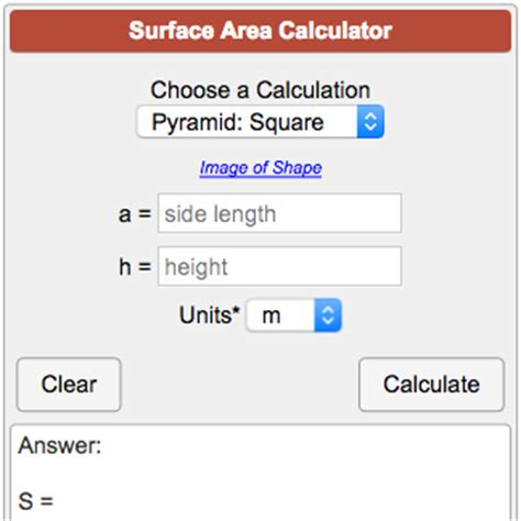 calculate area surface area calculator