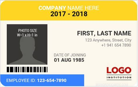 bottom id card template 10 best staff id card templates ms word microsoft word