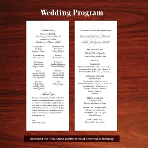 free wedding program template free diy catholic wedding program ai template i m a