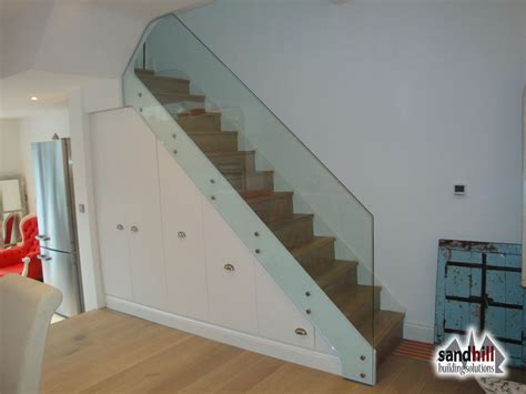 glass banister uk stair renovation glass balustrade wine rack london sw11