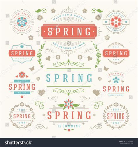 vintage vector design elements retro style typographic spring typographic design set retro and vintage style