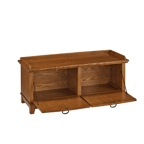 Oak Storage Bench Arts And Crafts Cottage Oak Upholstered Storage Bench Home Styles Furniture Storage