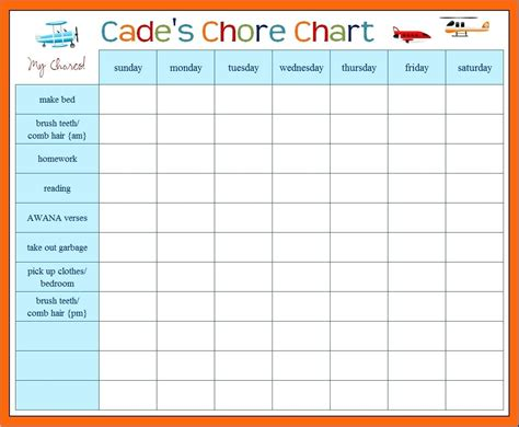 Template Weekly Chores Template Monthly Chore Chart Template Excel