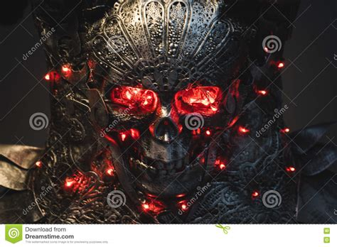 flashing silver lights in eyes death silver armor skull with red eyes and led lights