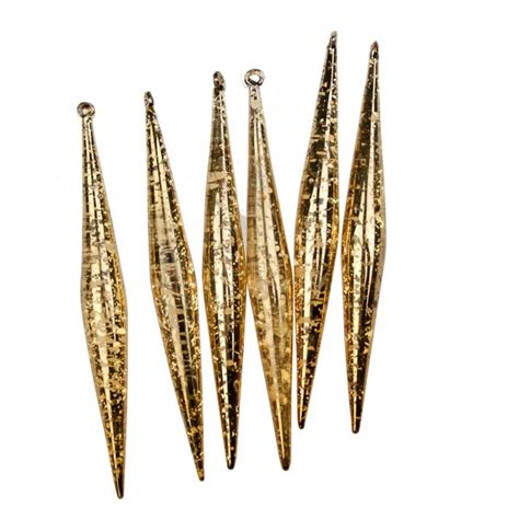 gold flecked glass icicles 6 x 14cm decorations for