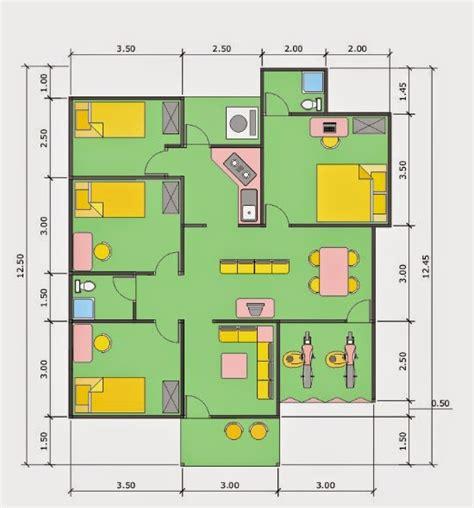 denah rumah 6x12 3 kamar tidur 1 mushola