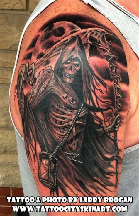 hourglass tattoo bay city grim reaper rolling the dice for your sleeve