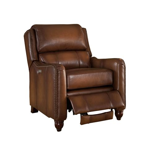 Top Recliner by Concord Traditional Top Grain Brown Leather Powered
