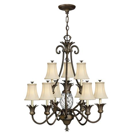 Plantation 10 Light Chandelier In Pearl Bronze With Ivory Pearl Chandelier