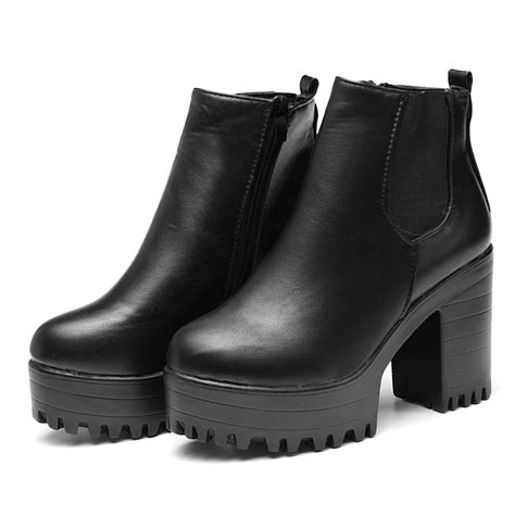 ankle high motorcycle boots square heel platform zapatos mujer pu leather thigh high