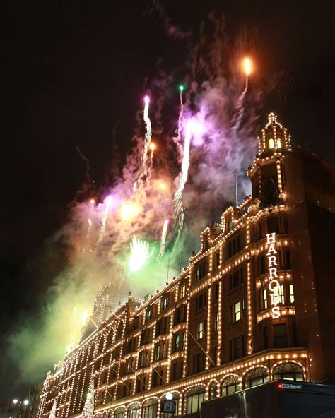 harrods christmas lights switch on zimbio