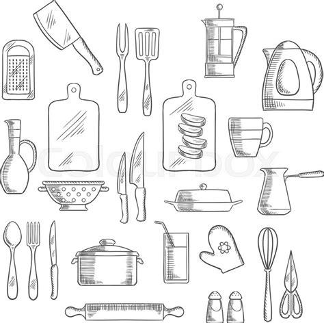 kitchen utensils and appliances kitchen utensils and appliances sketch icons of tea and