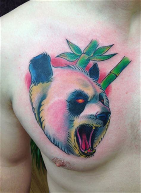 panda chest tattoo girl chest panda tattoo by bananas tattoo