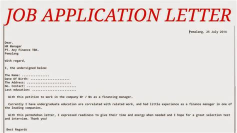 application letter as a writing application