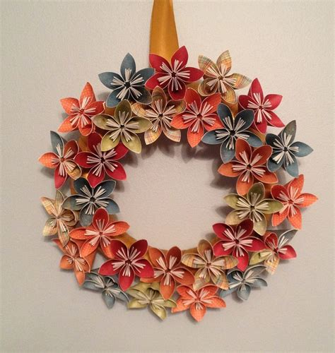 Origami Paper Wreath - origami paper flower wreath wedding decorations paper