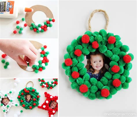 pom pom christmas photo ornaments one little project