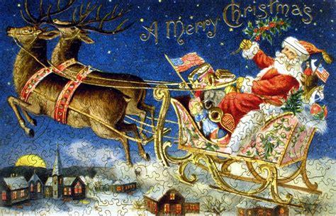 santas sleigh wooden jigsaw puzzle liberty puzzles    usa