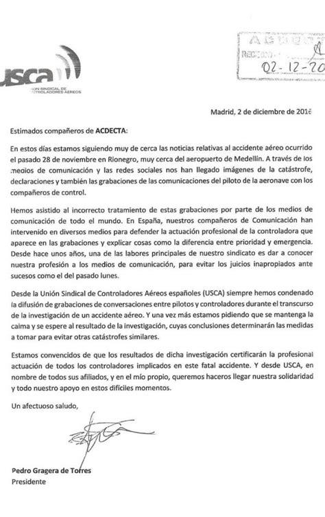 Carta De Apoyo Presidente De Usca A Los Controladores