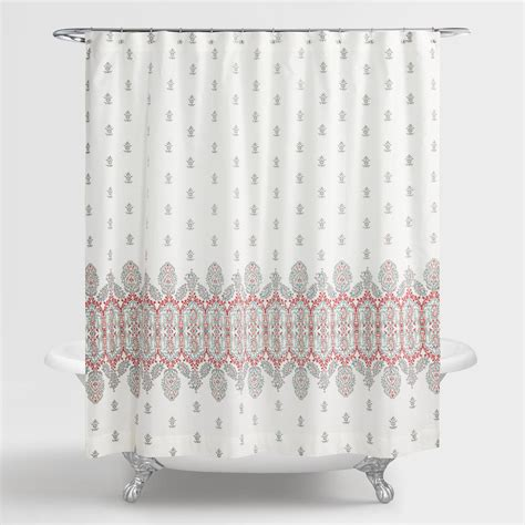 shower curtain coral aqua and coral indian devi shower curtain world market