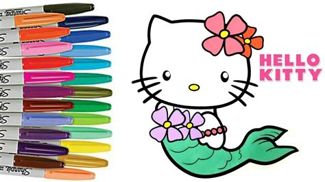 hello kitty coloring pages youtube hello kitty coloring book page mermaid airplane summer