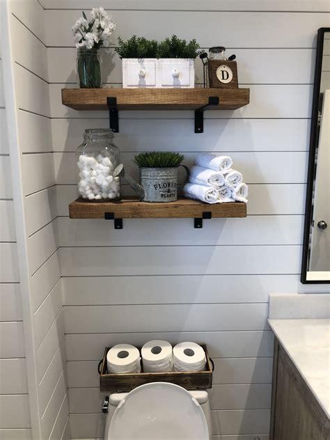 modern farmhouse bathroom  wood vanity shiplap walls