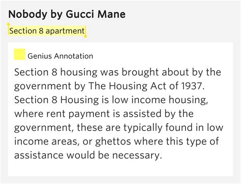 Section 8 Apartment Nobody Lyrics Meaning