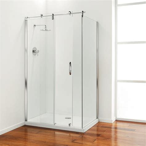 Coram Shower Doors Coram Premier 1200mm Sliding Frameless Shower Door With 800mm Side Panel