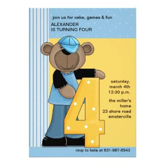 4 Year Birthday Card Message 4 Years Old Boy Birthday Cards Invitations Zazzle Co Uk