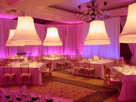 Curtains And Drapery Off White Chiffon Ballroom Drape With Pink And Purple Led