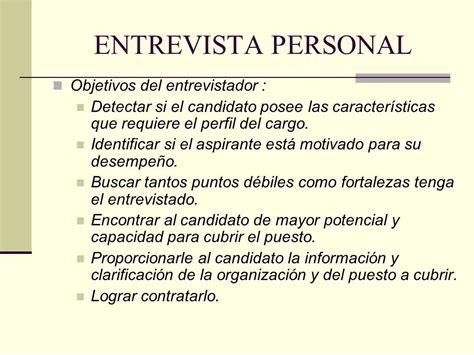 preguntas sobre objetivos personales entrevista de trabajo ppt descargar