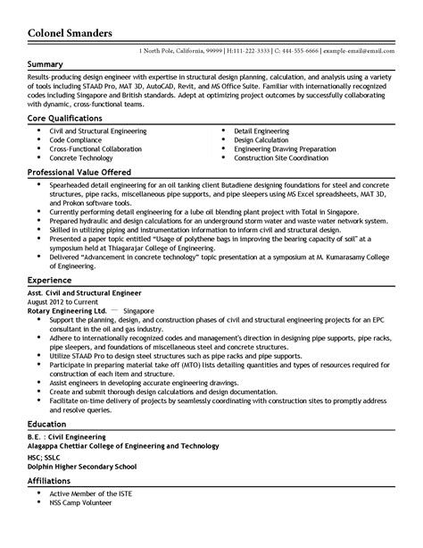 Core Qualifications Examples For Resume by Professional Assistant Structural Engineer Templates To