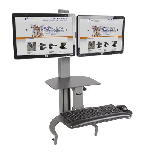 dual monitor stand up desk taskmate go 6350 dual monitor adjustable height desk