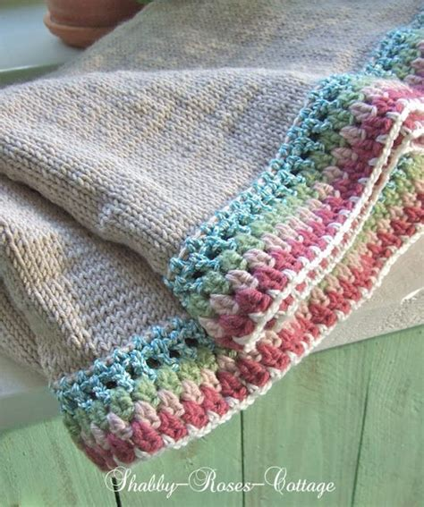how to crochet a border on a knitted blanket shabby roses cottage knit crochet a new blanket