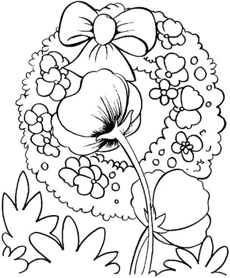 poppy wreath coloring page poppy coloring pages wreath coloring pages