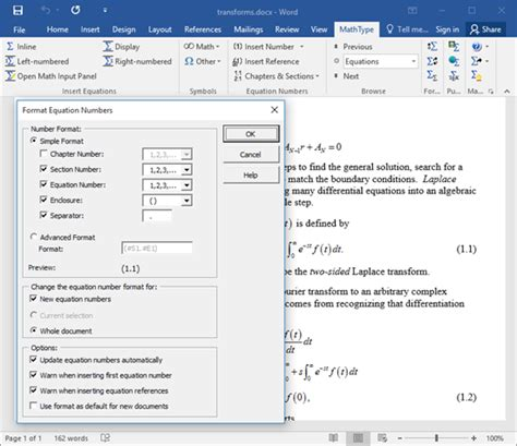 word insert section number mathtype equation numbering in word documents