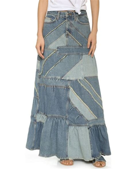 Patchwork Denim Skirt - marc by marc patchwork denim skirt in blue patched