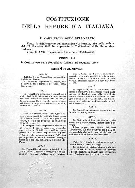 costituzione europea testo articolo 1 della costituzione italiana