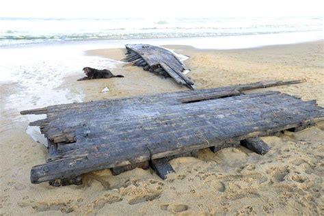 boat wash usa remnants of centuries old shipwreck wash ashore at